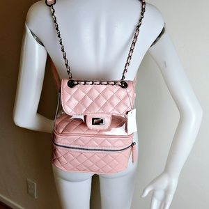 Handbags - NWT PINK Faux Leather & PVC Crossbody Backpack